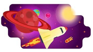 foguete do ônibus espacial passa por um grande planeta vermelho com ilustração em vetor plana conceito de design de anéis