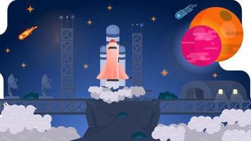 uma base espacial em altas montanhas entre nuvens lança um foguete de ônibus espacial no conceito de design do espaço ilustração vetorial plana vetor