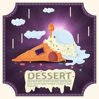 waffle de casa com cobertura de sorvete com letras de sobremesa adesivo quadrado design plano vetor