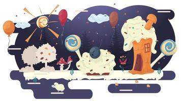 casas feitas de bolos, pastelaria assando em uma clareira de glacê entre árvores flores e balões ilustração vetorial plana para decoração de design vetor