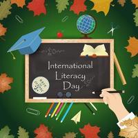 design do tema escolar para o dia internacional da alfabetização, volta às aulas, estilo simples vetor