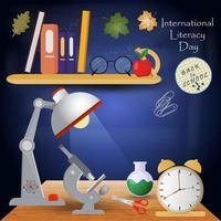 ilustração design 3 sobre o tema da escola, dia internacional da alfabetização, volta às aulas, estilo simples vetor