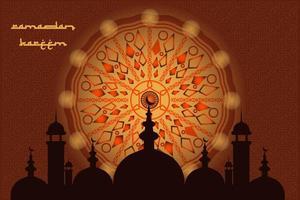 Ramadan Kareem islâmico saudação design de plano de fundo com mesquita e vetor de caligrafia