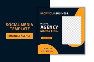 design de modelo de postagem de mídia social de agência de negócios moderna criativa. promoção de banner. publicidade corporativa vetor