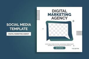 design de modelo de postagem de mídia social criativa agência de marketing de negócios digitais promoção de banner. publicidade corporativa vetor