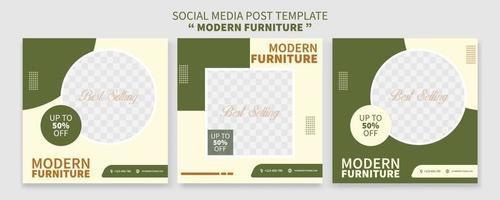 conjunto de coleção de modelo de postagem de mídia social de promoção de venda de móveis premium criativa. melhor para promoção online de negócios. publicidade na web social