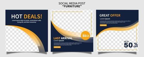 conjunto de coleção de modelo de postagem de mídia social de promoção de venda de móveis premium criativa. melhor para promoção online de negócios. publicidade na web social vetor