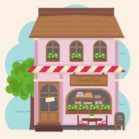 Edifício de loja de doces coloridos de vetor