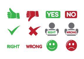 Sinal certo ou errado vetor