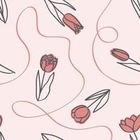 padrão de primavera sem costura com tulipas e fita em estilo de linha de arte vetor