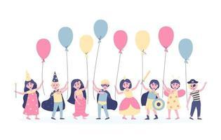 crianças com balões em fantasias de carnaval para o aniversário vetor