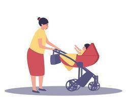 mamãe olha para o bebê no carrinho vetor