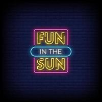 diversão no sol vetor de texto de estilo de sinais de néon