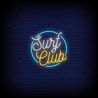 vetor de texto de estilo de sinais de néon do clube de surf