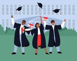 graduados com diplomas e pergaminhos perto da instituição educacional jogam seus chapéus de formatura para o céu vetor