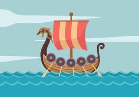 Ilustração em vetor navio viking