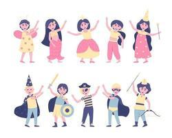 um conjunto de crianças em fantasias de carnaval para o feriado vetor