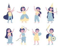 conjunto de crianças em fantasias de carnaval vetor