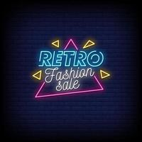 Vetor de texto de estilo de sinais de néon de venda de moda retrô