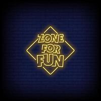 zona para diversão vetor de texto de estilo de sinais de néon