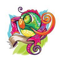 Lagarto colorido ou camaleão ilustração com novo estilo de tatuagens Skool vetor