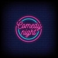 comédia à noite sinais de néon estilo texto vetor