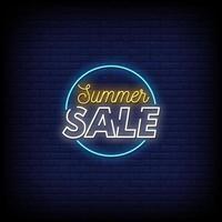 vetor de texto estilo sinais de néon de venda de verão