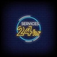 serviço 24 horas sinais de néon estilo vetor de texto