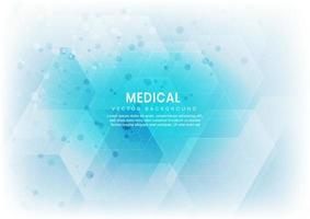 fundo abstrato do teste padrão do hexágono branco e azul. conceito médico e científico e molécula de estrutura e comunicação. vetor