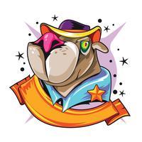 Cão do xerife do animal de estimação da ilustração com conceito novo dos tatuagens de Skool vetor