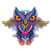 Ilustração Owl Fulcolor Novo Skool Tattoos Concept vetor