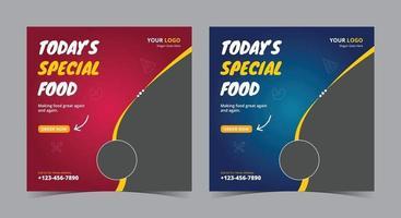 hoje pôster especial de comida, postagem em mídia social sobre comida e folheto vetor