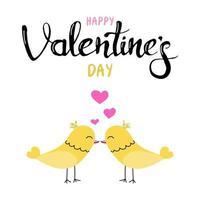 bonitos passarinhos se beijando. cartão-presente para o dia dos namorados. caligrafia e elementos de design desenhados à mão. Letra manuscrita. imagem plana do vetor