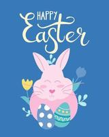 coelhinha com ovos de Páscoa em flores. cartão, pôster. ilustração vetorial em estilo simples com letras de mão vetor