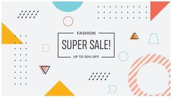 super venda fundo branco estilo memphis vetor