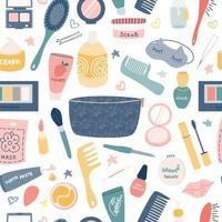 cosméticos para cuidados, acessórios femininos em um fundo branco. padrão sem emenda de vetor