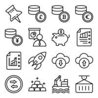 pacote de ícones lineares de crescimento de negócios financeiros vetor