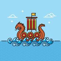 Ilustração de navio viking