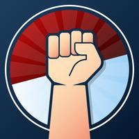 Independência da Indonésia mão punho com bandeira conceito ilustração vetor