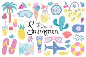 verão praia conjunto de elementos com letras de mão em um fundo branco. recreação, turismo. imagens vetoriais em estilo simples vetor