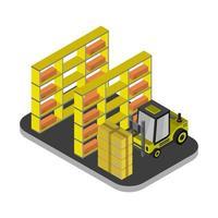 ícone de armazém isométrico no fundo vetor