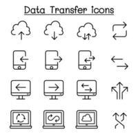 computador em nuvem, transmissão de dados, mineração de dados, data warehouse, download, ícone de upload definido em estilo de linha fina vetor
