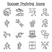 treinamento de futebol, ícone do clube de futebol definido em estilo de linha fina vetor