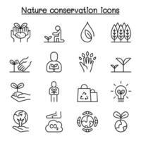 eco amigável, preservação da natureza, ícone ambientalista definido em estilo de linha fina vetor