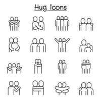amor, abraço, amizade, ícone de relacionamento definido em estilo de linha fina vetor