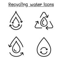 ícone de reciclagem de água definido em estilo de linha fina