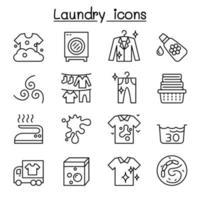 ícone de lavanderia definido em estilo linha fina vetor