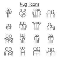 amante, abraço, amizade, ícone de relacionamento definido em estilo de linha fina vetor
