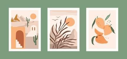 coleção de gravuras de arte contemporânea. desenho vetorial moderno para arte de parede, pôsteres, cartões, camisetas e mais vetor