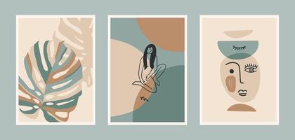 conjunto de gravuras de arte contemporânea. arte de linha. desenho vetorial moderno vetor